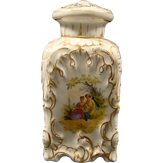 Dresden hand painted covered dresser jar bottle courting scenes and flowers