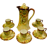 Haviland Rosenthal hand painted flowers chocolate set pot cups and saucers artist signed