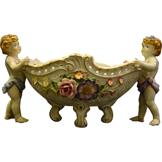 Von Schierholz porcelain flower encrusted pierced center bowl centerpiece