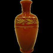 Victorian cased art glass vase orange white gilded decoration