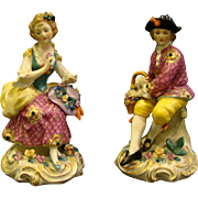 Edme Samson porcelain man woman pair figurines gold anchor mark