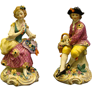 Edme Samson porcelain man woman pair figurines gold anchor mark