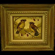 Don Lemon signed cedar waxwings bird oil painting Longboat Key Art Center