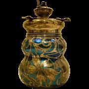 Loetz papillon large silver overlay art glass jar vase