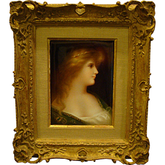 T&V Limoges hand painted portrait plaque beautiful woman after Angelo Asti