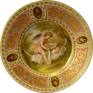 Vienna beehive portrait plate cupid and child sleeping artist signed