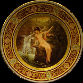 Vienna hand painted portrait plate semi nude woman artist signed Marko beehive mark