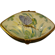 Limoges hand painted porcelain butterfly trinket box artist signed