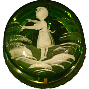 Mary Gregory enameled green glass antique trinket pill box