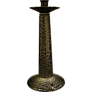 Murano tall Italian art glass black silver flecks candlestick