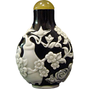 Peking cameo glass black white snuff bottle fruit and flowers with vase