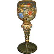 Moser art glass tall goblet stem enameled fruits leaves applied beads and prunts