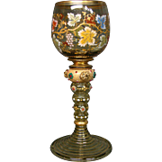 Moser art glass tall water goblet stem enameled grapes leaves applied beads and prunts
