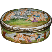 Capo di Monte oval dresser box cupids and goat