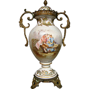 Sevres porcelain urn courting scene bronze mounts late 1800's