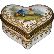 German porcelain covered heart shaped trinket box courting scene
