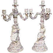 German porcelain pair ornate figural female candelabras pink lavender
