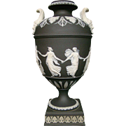 Wedgwood basalt jasperware face handled Dancing Hours urn vase