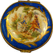 French porcelain trinket or pill box courting scene
