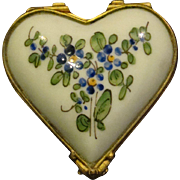 French porcelain hand painted flowers pill or trinket box heart shaped