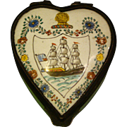 Heart shaped enamel pill or trinket box ship at sea