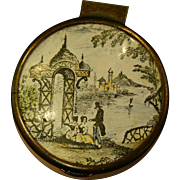 Enamel pill or trinket box classic scene produced for Bonwit Teller in England