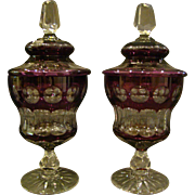 Val St Lambert pair fo amethyst raspberry cut covered urns or vases