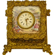 Antique French enamel bronze jewelry box with clock watch inset