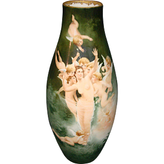 Limoges tall hand painted vase semi nude woman and cupids artist signed