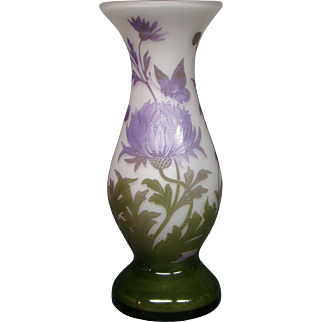 French cameo art glass vase flowers and butterfly signed Art
