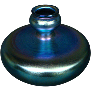 Victor Durand blue iridescent art glass vase 1977-8 signed