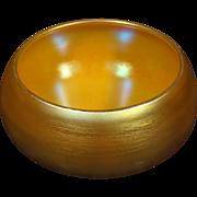 Durand gold iridescent art glass vase bon bon dish signed