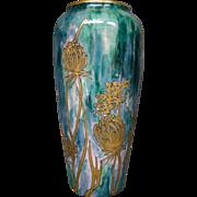 La Porcelaine Limousine Limoges tall mottled vase gold flowers artist signed