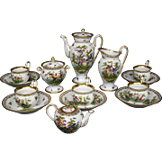Dresden hand painted porcelain 17 piece demitasse set service birds insects flowers