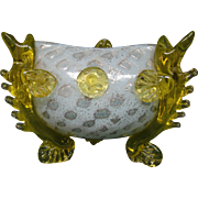 Victorian art glass bowl fish feet berry pontil