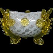 Victorian art glass bowl fish feet berry pontil