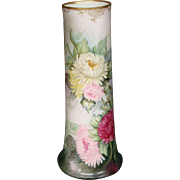 Limoges huge hand painted floral vase William Guerin
