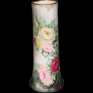 Limoges huge hand painted floral vase William Guerin