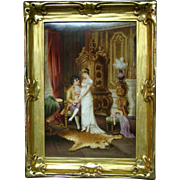 KPM hand painted plaque interior courting scene Trotzkogfohen artist signed Wagner