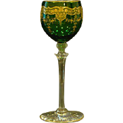 Moser green and gold floral tall stem goblet