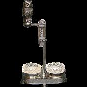 Meriden silverplate Victorian owl glass eyes open salt pepper shaker