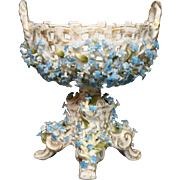 German porcelain latticework compote dainty blue flowers crossed swords mark