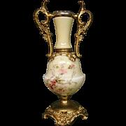 Wavecrest ormolu mount floral decorated art glass vase
