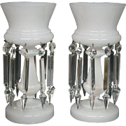 White opaline glass pair of antique mantle lustres with prisms