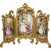 Huge Austrian three section enamel screen courting scenes