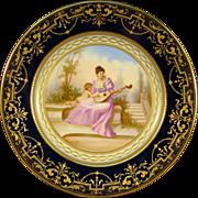 Vienna beehive cobalt porcelain portrait plate cupid woman and mandolin