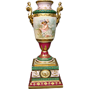 Vienna hand painted porcelain urn vase semi nude woman and cupid