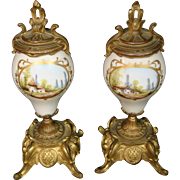 French porcelain pair of mantle clock vases pieces