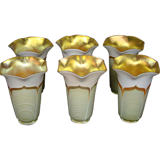 Steuben decorated aurene set six large pulled feather art glass shades