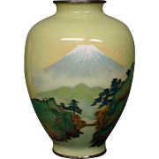 Japanese cloisonne vase mountains trees bridge early 1900's